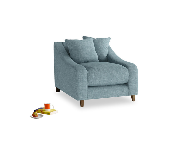 Oscar Armchair in Soft Blue Laundered Linen