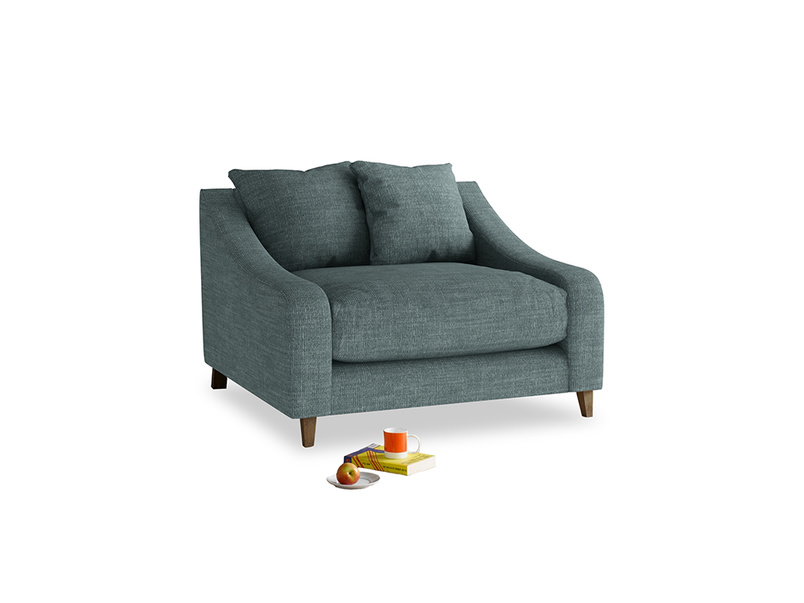 Oscar Love seat in Anchor Grey Clever Laundered Linen