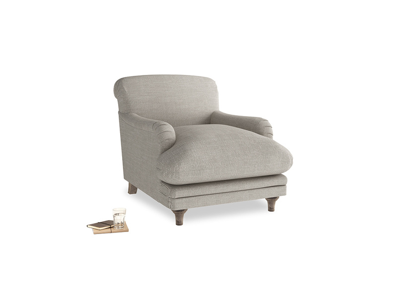 Pudding Armchair in Grey Daybreak Laundered Linen