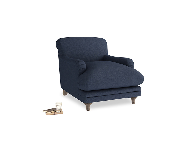 Pudding Armchair in Night Owl Blue Clever Woolly Fabric