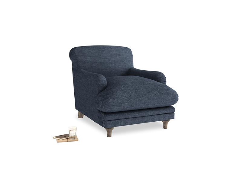 Pudding Armchair in Selvedge Blue Laundered Linen