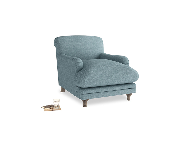 Pudding Armchair in Soft Blue Laundered Linen