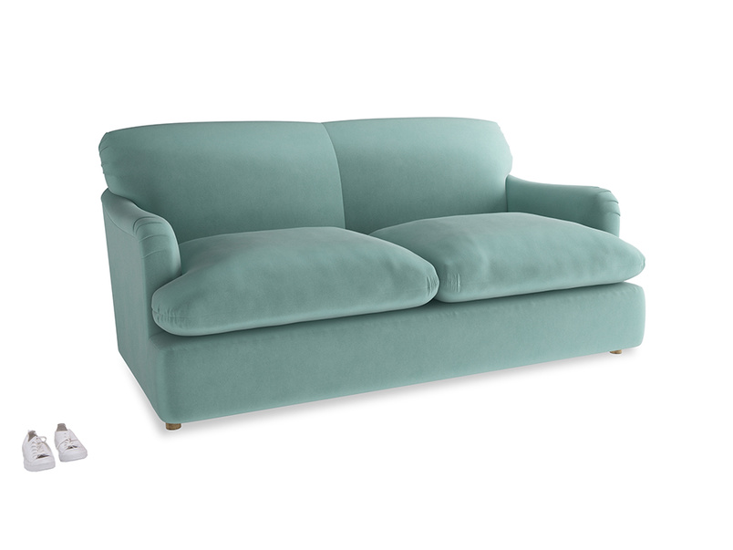 Medium Pudding Sofa Bed in Greeny Blue Clever Deep Velvet