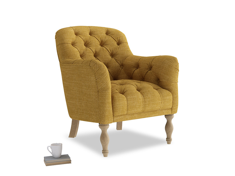 Reader Armchair in Mellow Yellow Clever Laundered Linen
