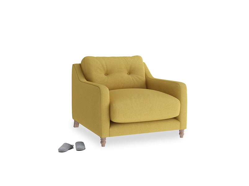 Slim Jim Armchair in Easy Yellow Clever Woolly Fabric