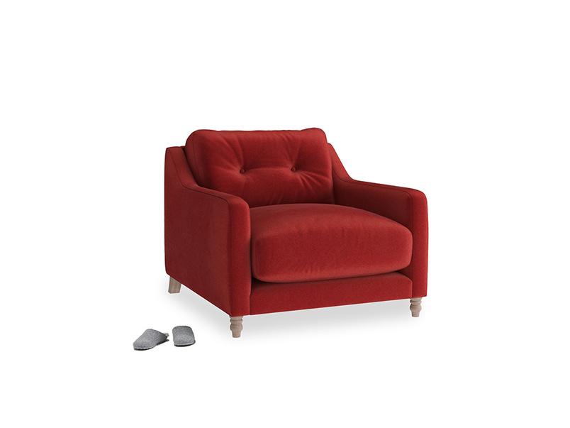 Slim Jim Armchair in Rusted Ruby Vintage Velvet