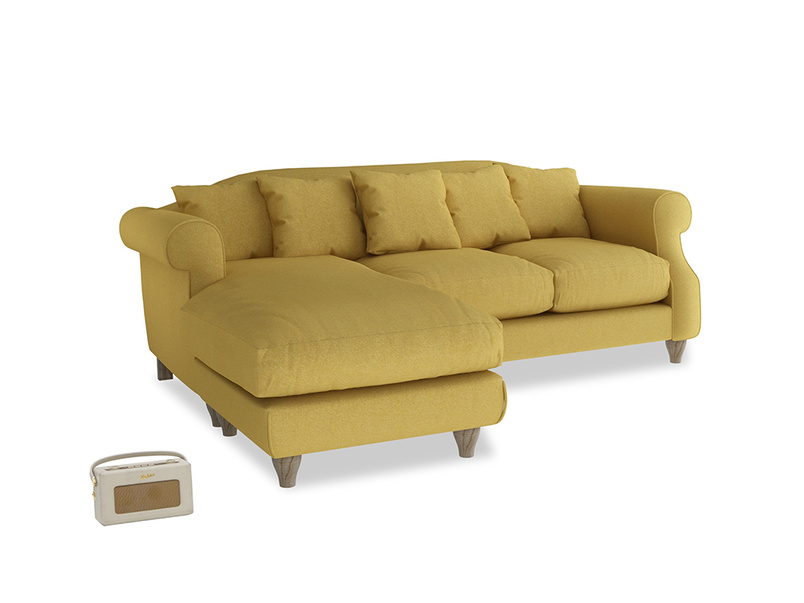 Large left hand Sloucher Chaise Sofa in Easy Yellow Clever Woolly Fabric
