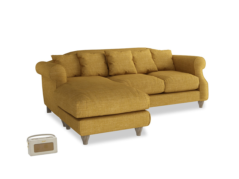 Large left hand Sloucher Chaise Sofa in Mellow Yellow Clever Laundered Linen