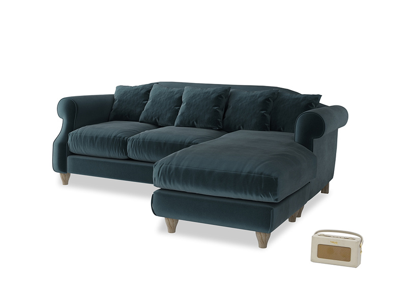 Large right hand Sloucher Chaise Sofa in Bluey Grey Clever Deep Velvet