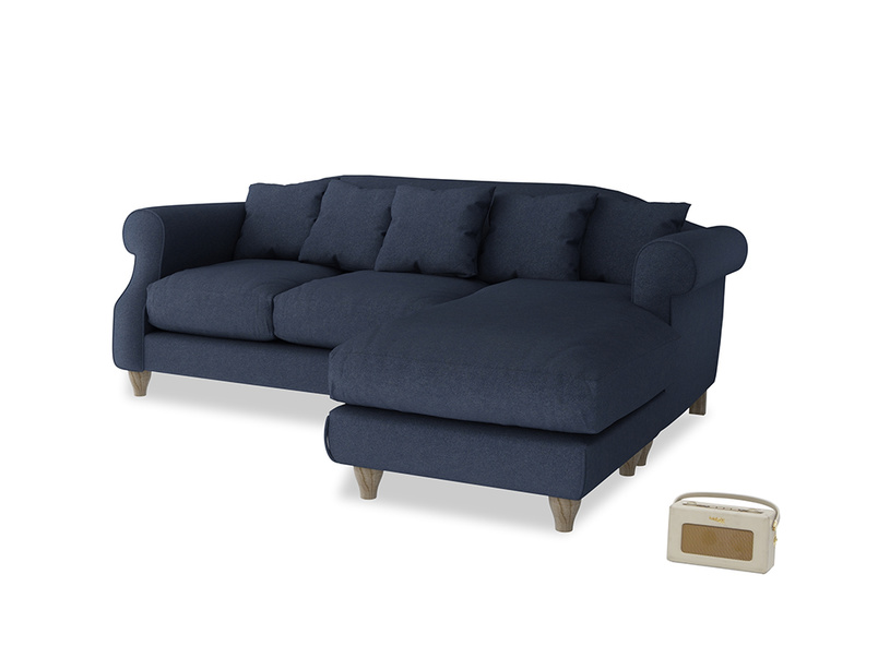 Large right hand Sloucher Chaise Sofa in Night Owl Blue Clever Woolly Fabric