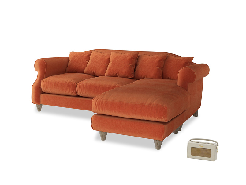 Large right hand Sloucher Chaise Sofa in Old Orange Clever Deep Velvet