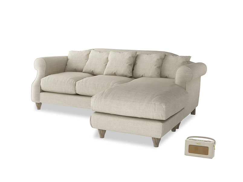 Large right hand Sloucher Chaise Sofa in Shell Clever Laundered Linen
