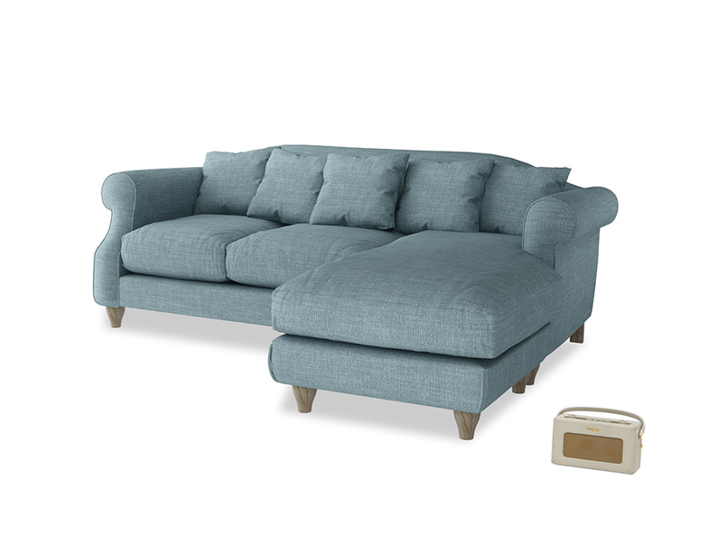 Large right hand Sloucher Chaise Sofa in Soft Blue Clever Laundered Linen