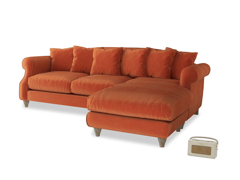XL Right Hand  Sloucher Chaise Sofa in Old Orange Clever Deep Velvet
