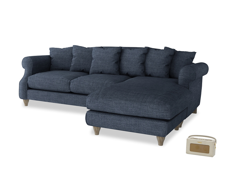 XL Right Hand  Sloucher Chaise Sofa in Selvedge Blue Clever Laundered Linen