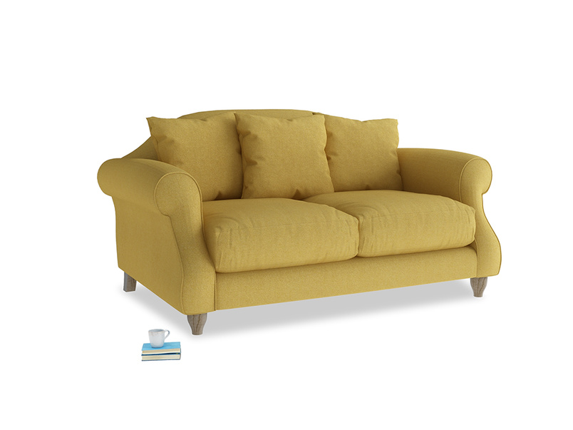 Small Sloucher Sofa in Easy Yellow Clever Woolly Fabric