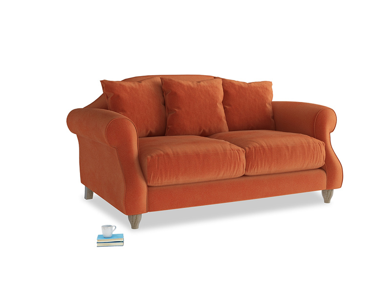 Small Sloucher Sofa in Old Orange Clever Deep Velvet