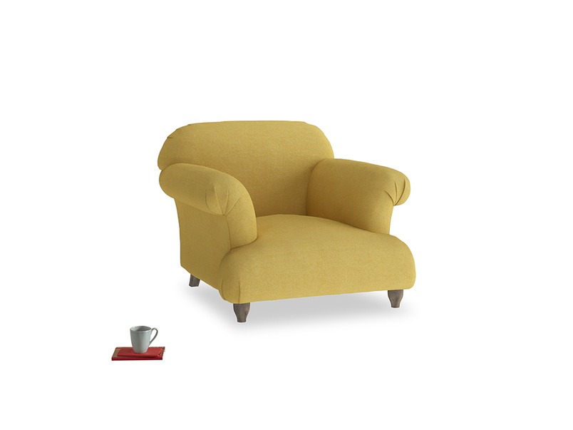 Soufflé Armchair in Easy Yellow Clever Woolly Fabric