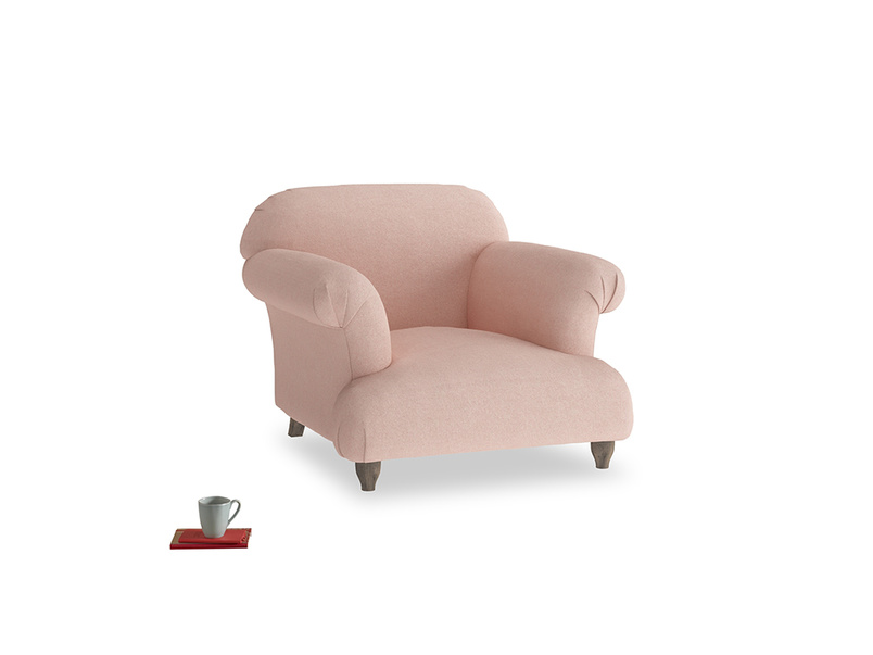 Soufflé Armchair in Pale Pink Clever Woolly Fabric