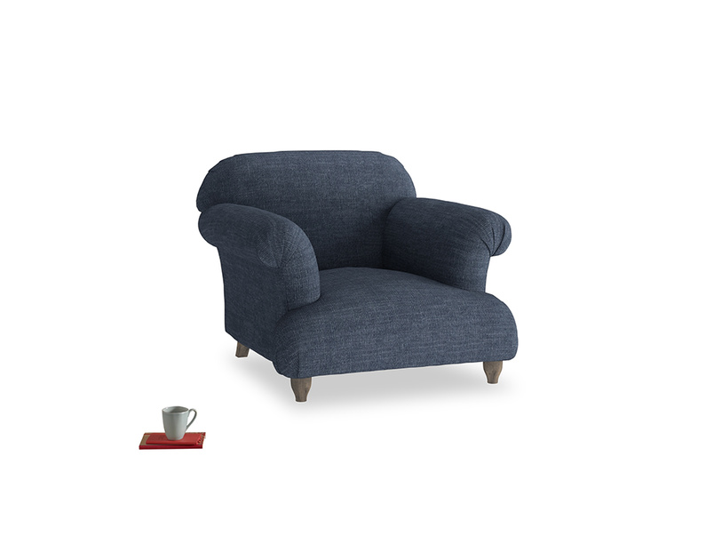 Soufflé Armchair in Selvedge Blue Laundered Linen