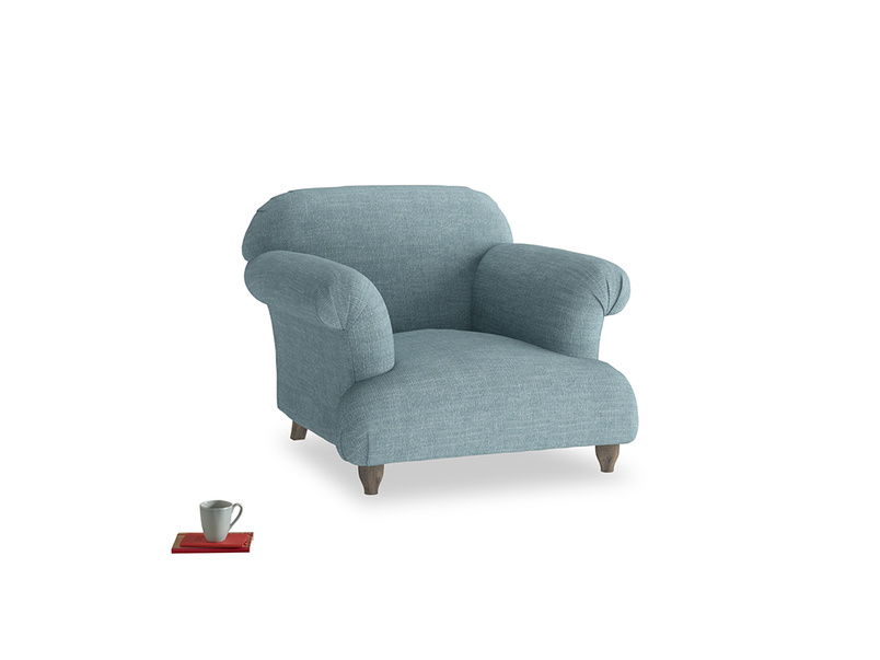 Soufflé Armchair in Soft Blue Laundered Linen