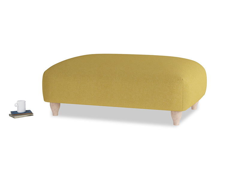 Soufflé Footstool in Easy Yellow Clever Woolly Fabric