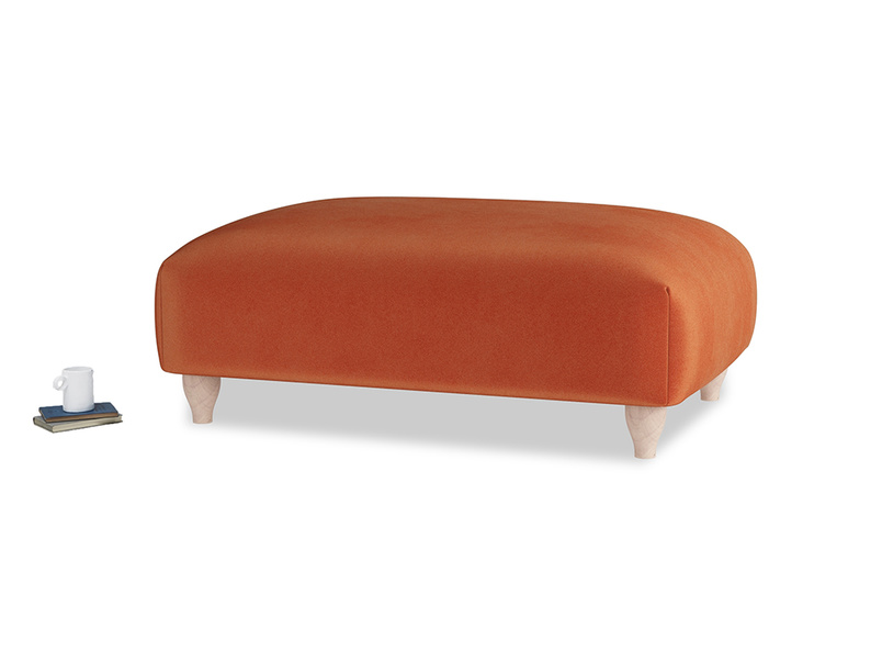 Soufflé Footstool in Old Orange Clever Deep Velvet