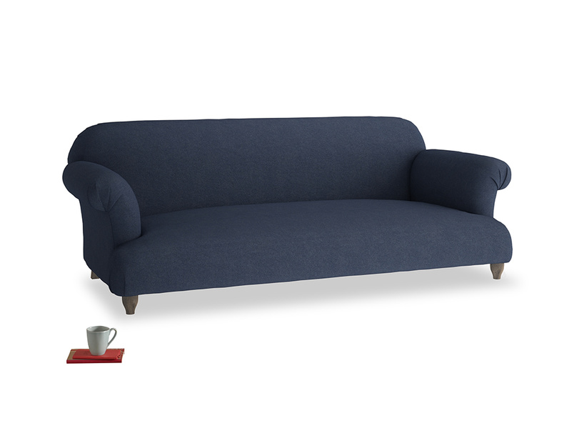 Large Soufflé Sofa in Night Owl Blue Clever Woolly Fabric