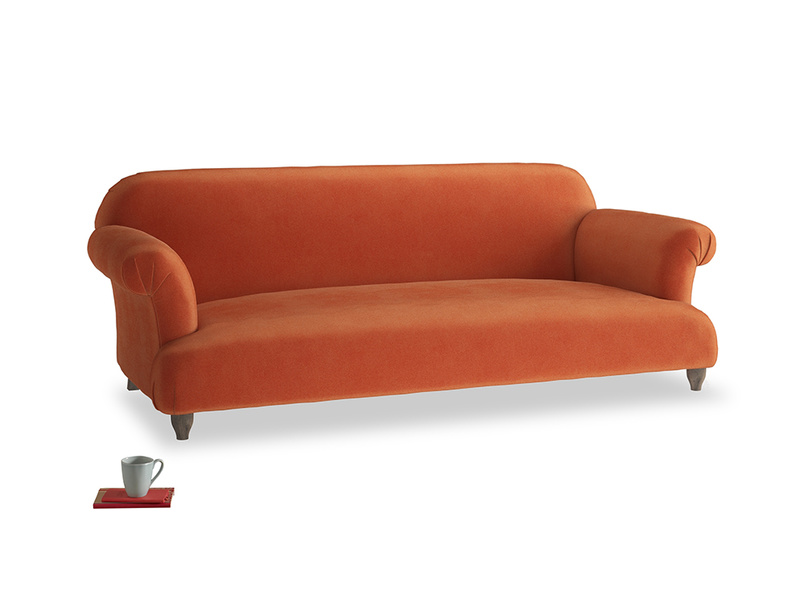 Large Soufflé Sofa in Old Orange Clever Deep Velvet