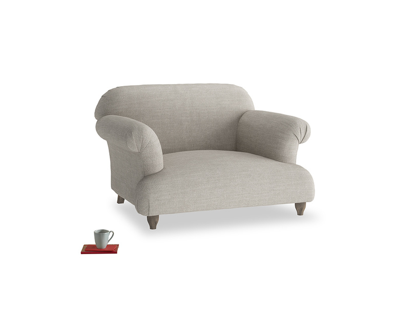 Soufflé Love seat in Grey Daybreak Clever Laundered Linen