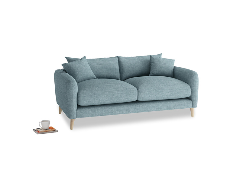 Small Squishmeister Sofa in Soft Blue Clever Laundered Linen