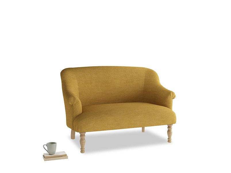 Small Sweetie Sofa in Mellow Yellow Clever Laundered Linen