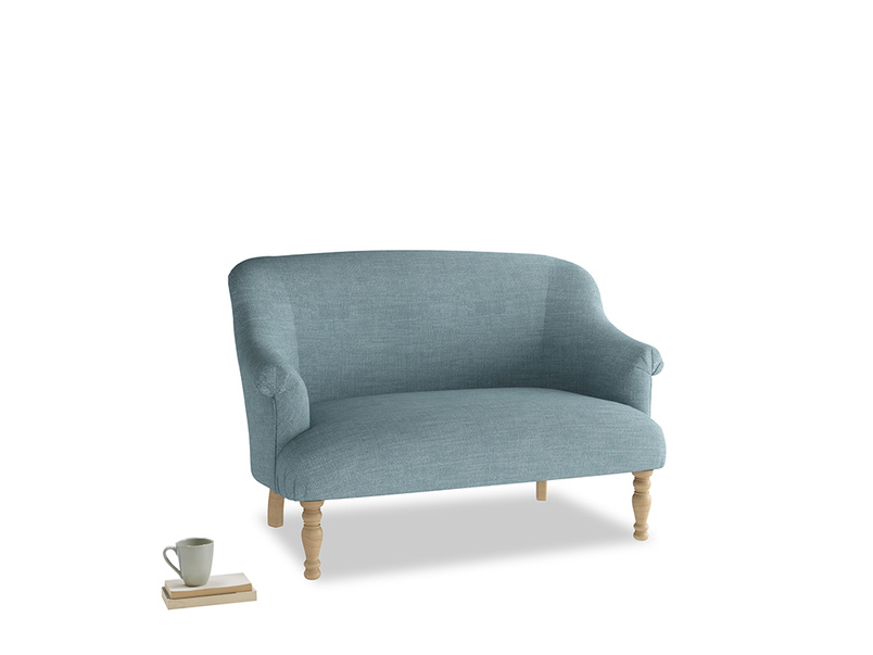 Small Sweetie Sofa in Soft Blue Clever Laundered Linen