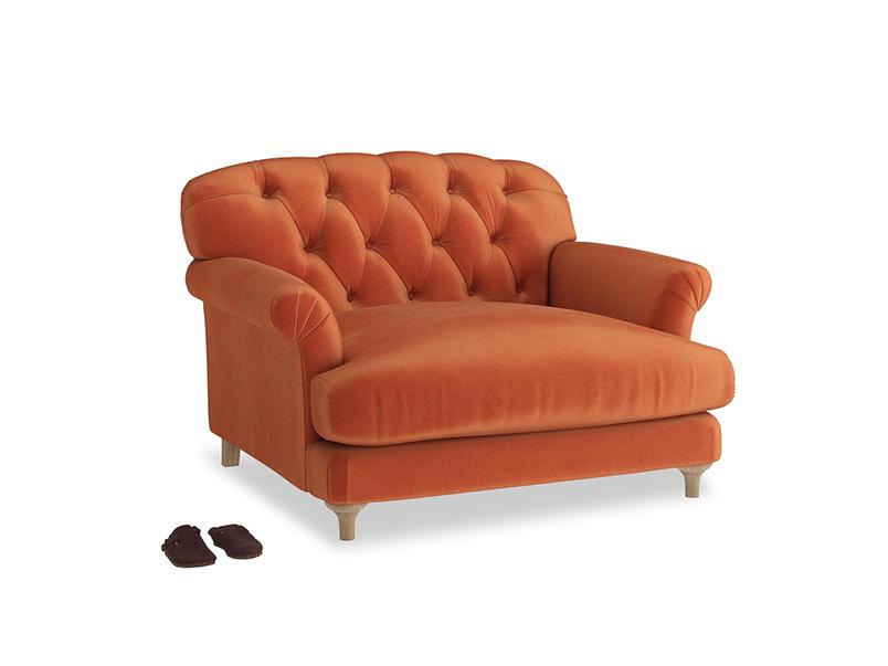 Truffle Love seat in Old Orange Clever Deep Velvet