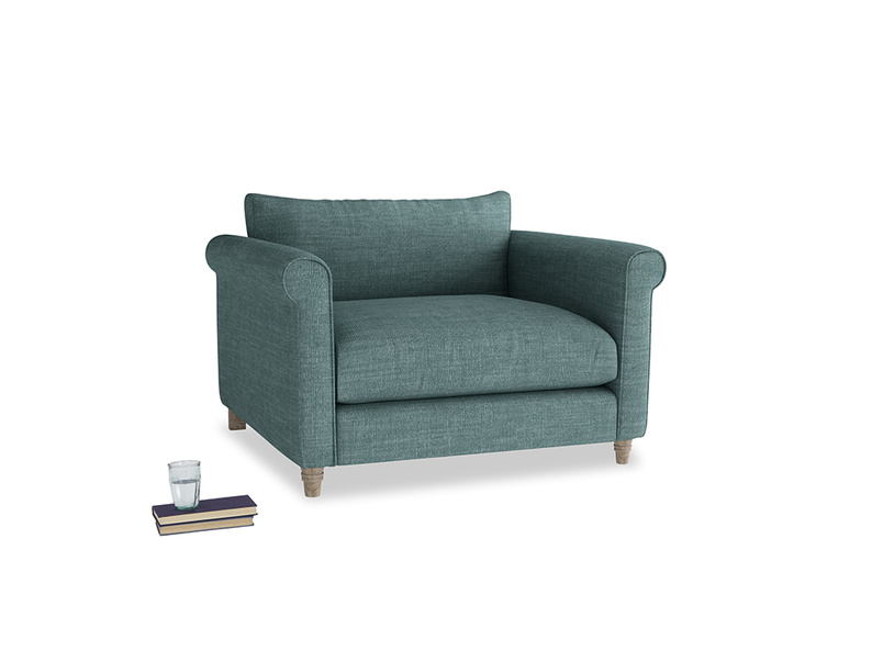 Weekender Love seat in Blue Turtle Clever Laundered Linen