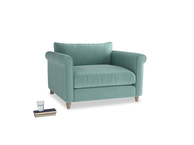 Weekender Love seat in Greeny Blue Clever Deep Velvet