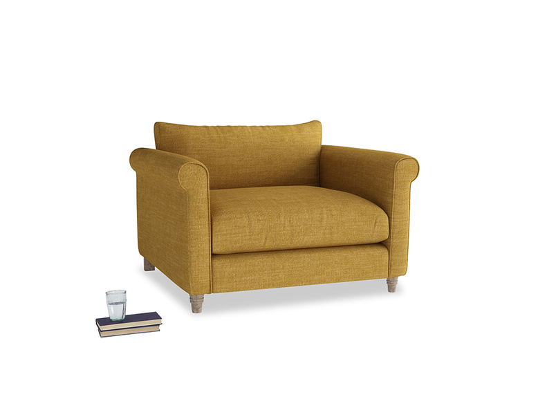 Weekender Love seat in Mellow Yellow Clever Laundered Linen