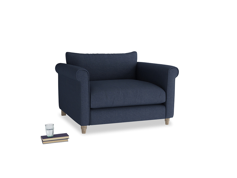 Weekender Love seat in Night Owl Blue Clever Woolly Fabric