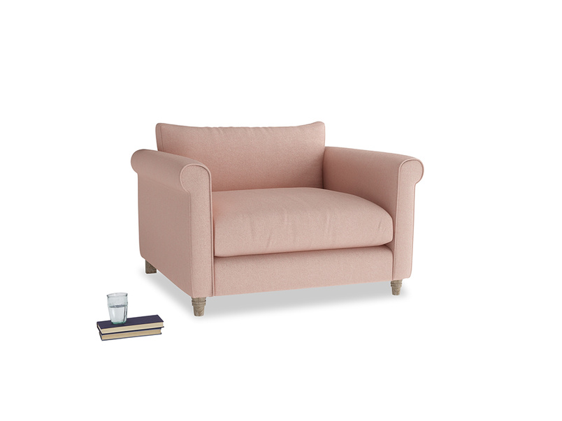 Weekender Love seat in Pale Pink Clever Woolly Fabric