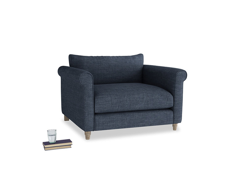 Weekender Love seat in Selvedge Blue Clever Laundered Linen