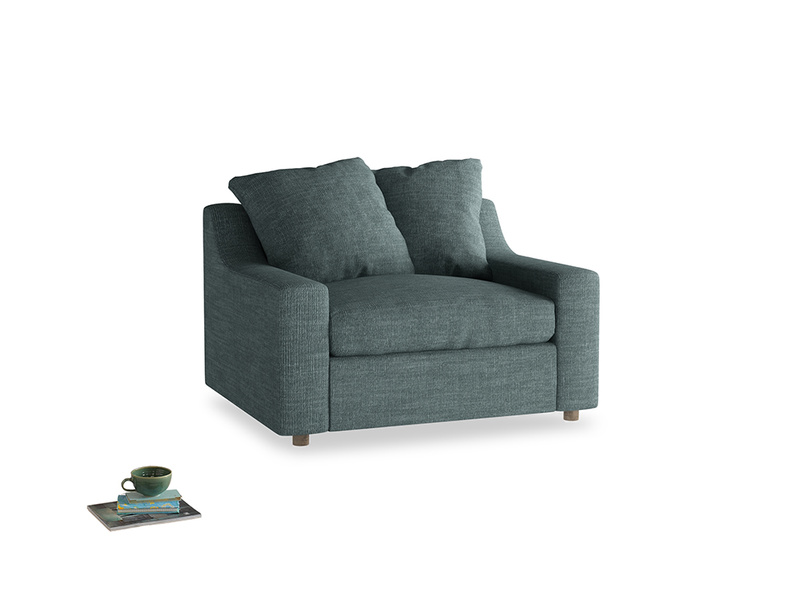 Cloud love seat sofa bed in Anchor Grey Clever Laundered Linen
