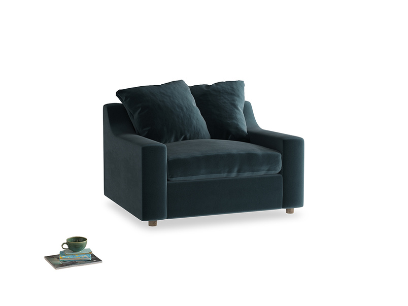 Cloud love seat sofa bed in Bluey Grey Clever Deep Velvet