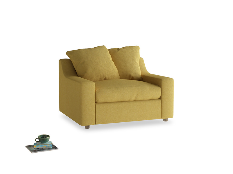Cloud love seat sofa bed in Easy Yellow Clever Woolly Fabric