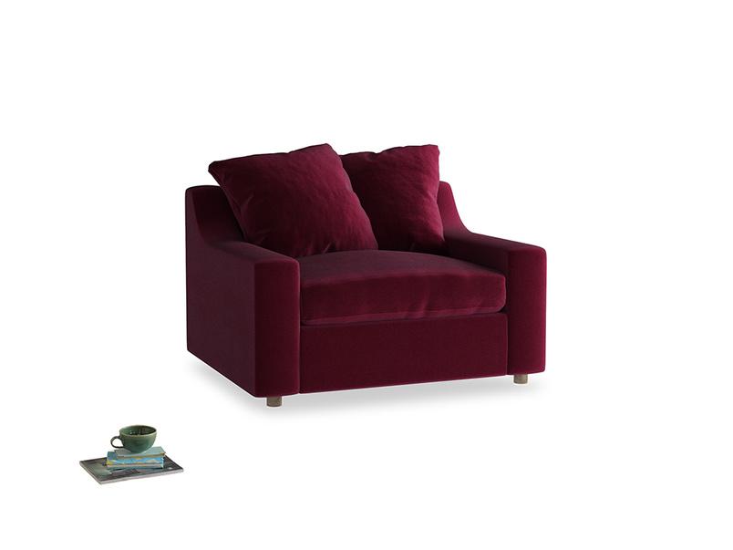 Cloud love seat sofa bed in Merlot Plush Velvet
