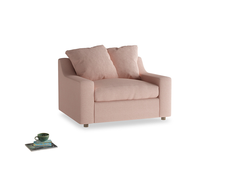 Cloud love seat sofa bed in Pale Pink Clever Woolly Fabric
