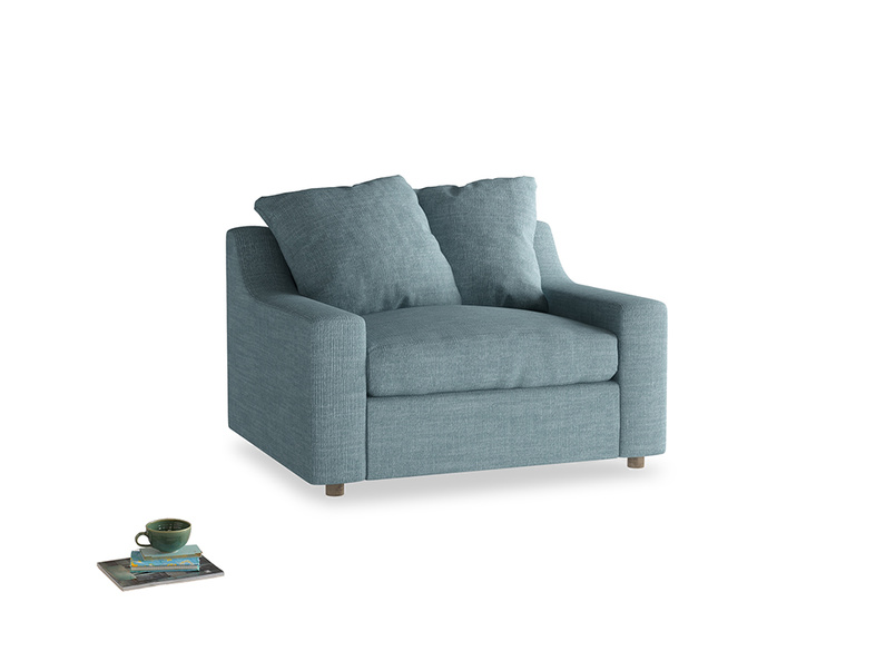 Cloud love seat sofa bed in Soft Blue Clever Laundered Linen