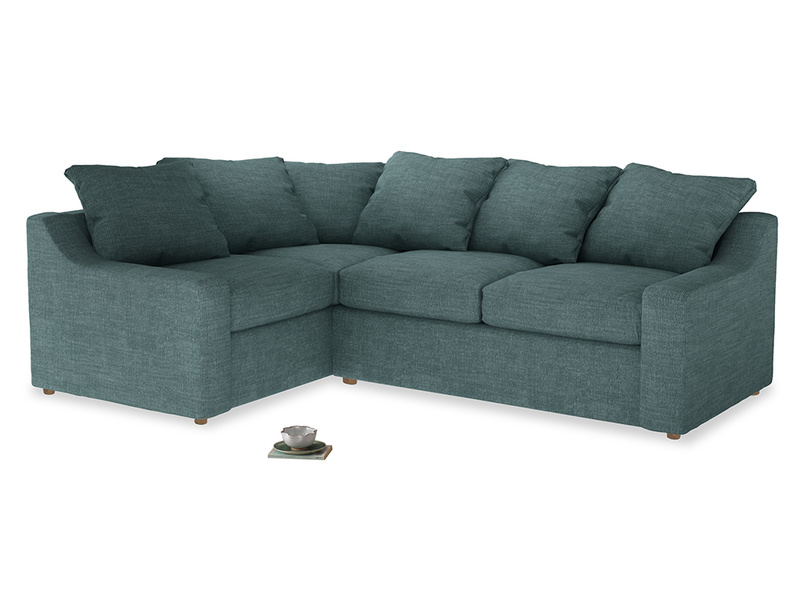 Large Left Hand Cloud Corner Sofa in Blue Turtle Clever Laundered Linen