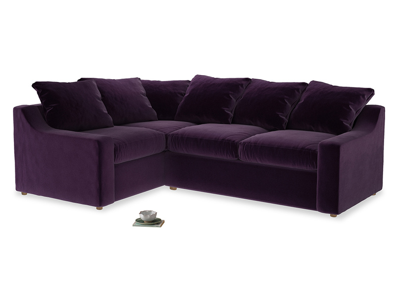 Large Left Hand Cloud Corner Sofa in Deep Purple Clever Deep Velvet