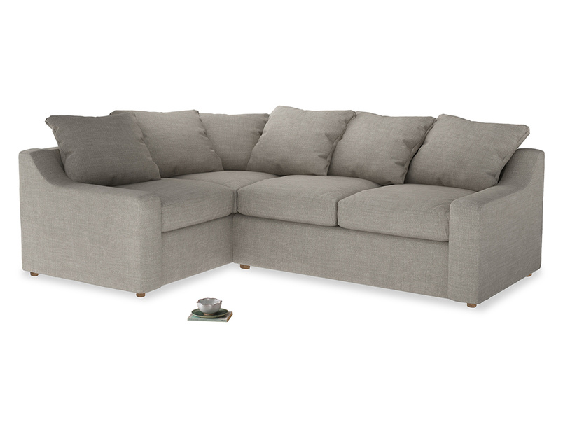 Large Left Hand Cloud Corner Sofa in Grey Daybreak Clever Laundered Linen