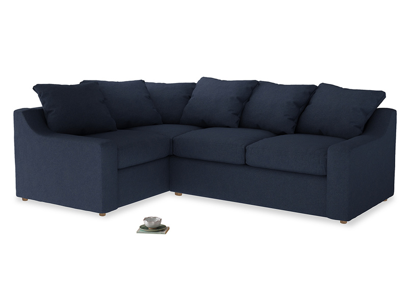 Large Left Hand Cloud Corner Sofa in Night Owl Blue Clever Woolly Fabric